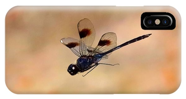 Stop Action iPhone Case - Dragonfly In Flight With Tan Background  by Carol Groenen
