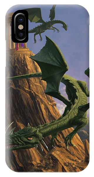 Dragons Flying Around A Temple On Mountain Top  IPhone Case