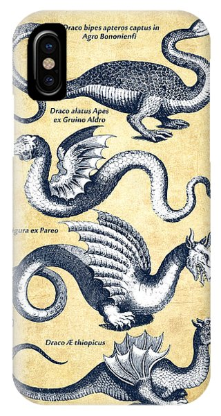 Dragons - Historiae Naturalis  - 1657 - Vintage IPhone Case