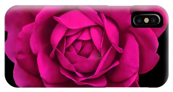 Hot iPhone Case - Dramatic Hot Pink Rose Portrait by Jennie Marie Schell