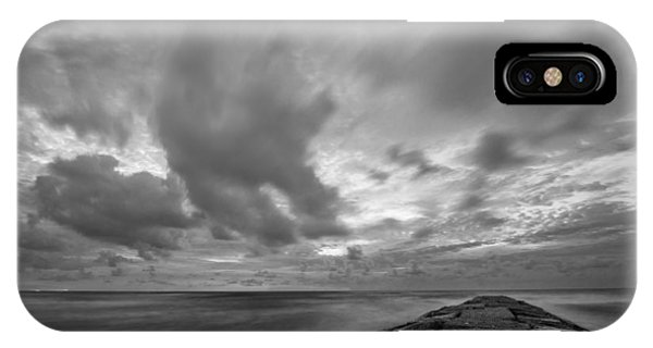 Dramatic Skies Over Galveston Jetty IPhone Case