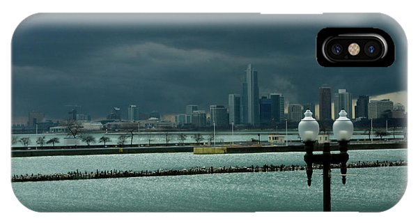 Dramatic Thunderstorm Over Navy Pier Chicago IPhone Case