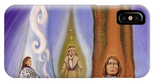Native American Spirit Portrait iPhone Case - Drawing Family Together by Robin Aisha Landsong