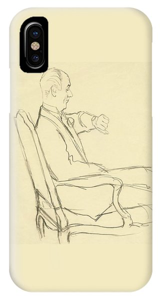 Drawing Of Man Looking At His Watch IPhone Case