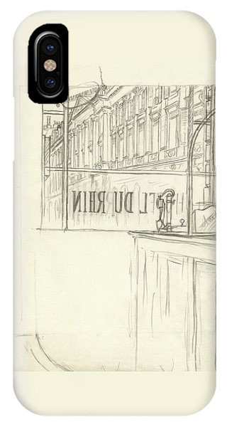 Drawing Of A Bar And Front Window Of Hotel Du Rhin IPhone Case
