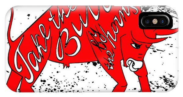 Bull Art iPhone Case - Drawing Red Angry Bull On The Grunge by Ana Babii