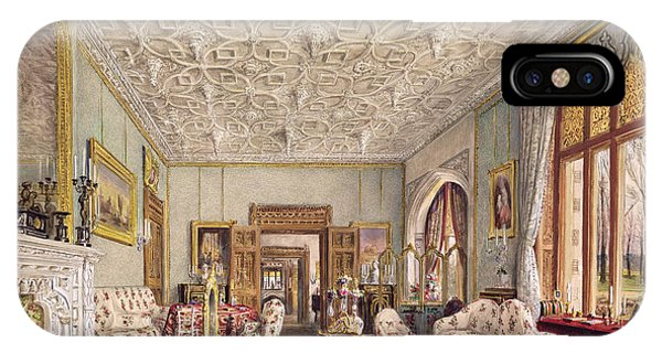 Fireplace iPhone Case - Drawing Room In The Gothic Style, C.1850 by Thomas Mann Baynes