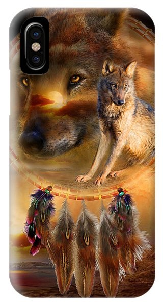 Wolf iPhone Case - Dream Catcher - Wolfland by Carol Cavalaris