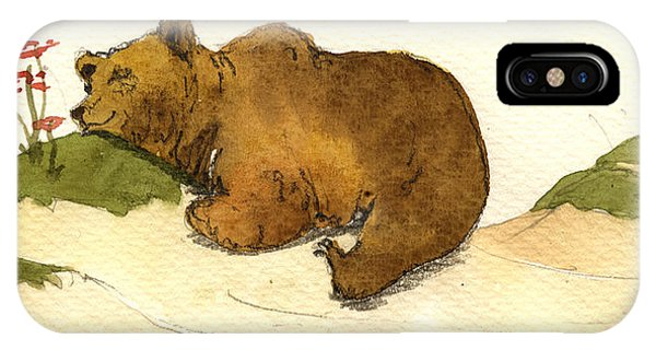 Brown iPhone Case - Dreaming Grizzly Bear by Juan  Bosco