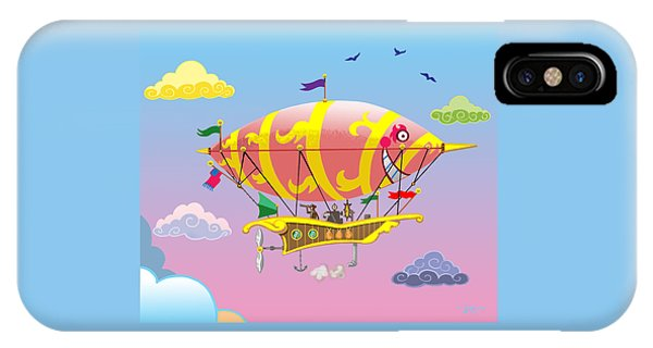Rainbow Steampunk Dreamship IPhone Case