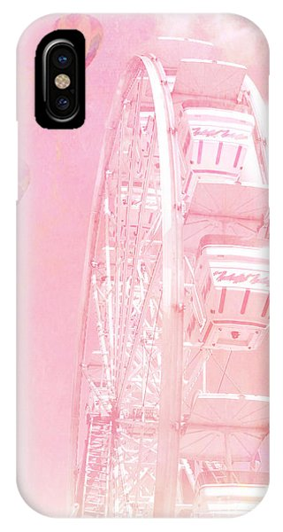 Cute iPhone Case - Dreamy Baby Pink Ferris Wheel Carnival Art With Hot Air Balloons by Kathy Fornal