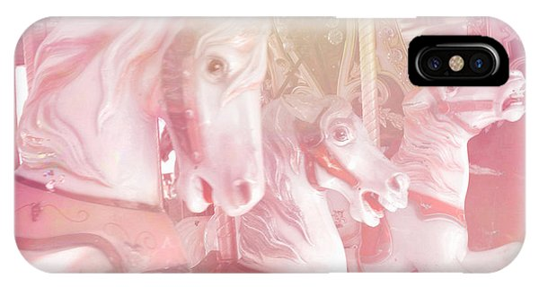 Carousel iPhone Case - Dreamy Baby Pink Merry Go Round Carousel Horses - Pink Carousel Horses Baby Girl Nursery Decor by Kathy Fornal