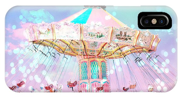 Teal iPhone Case - Dreamy Carnival Ferris Wheel Ride - Baby Pink Aqua Teal Ferris Wheel Festival Ride by Kathy Fornal