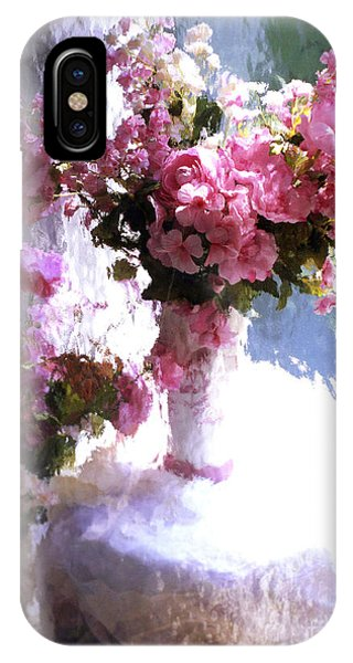 Dreamy Cottage Chic Impressionistic Flowers - Pink Roses Pink Vases IPhone Case