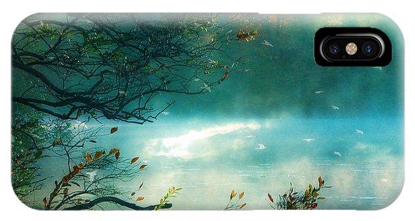 Teal iPhone Case - Dreamy Nature Aqua Teal Fog Pond Landscape - Aqua Turquoise Fall Autumn Nature Decor  by Kathy Fornal