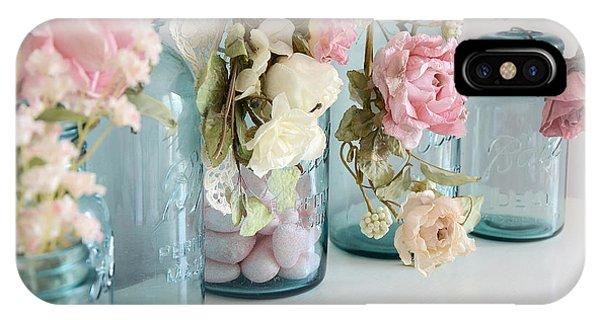 Shabby Chic Roses Blue Aqua Ball Mason Jars - Roses In Aqua Blue Mason Jars - Shabby Chic Decor IPhone Case