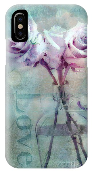 Roses Dreamy Shabby Chic Pink Roses Teal Aqua Impressionistic Cottage Pink Aqua Teal Love Roses IPhone Case