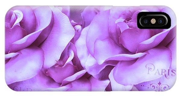 Dreamy Shabby Chic Purple Lavender Paris Roses - Dreamy Lavender Roses Cottage Floral Art IPhone Case