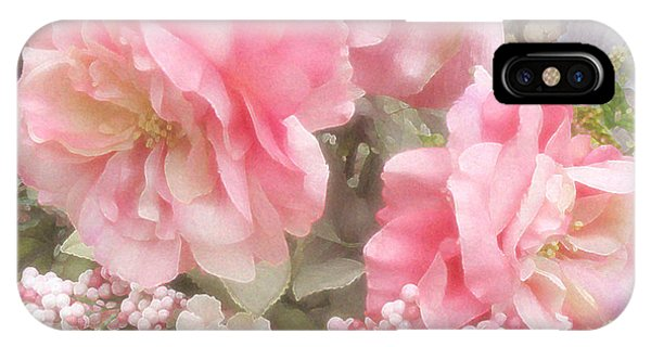 Dreamy Vintage Cottage Shabby Chic Pink Roses - Romantic Roses Peonies IPhone Case