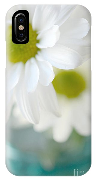 Dreamy White Daisies Aqua Mint Ball Jar Photography - Ethereal Dreamy Shabby Chic White Daisies  IPhone Case