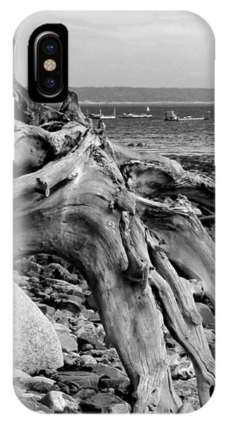 Driftwood On Rocky Beach IPhone Case