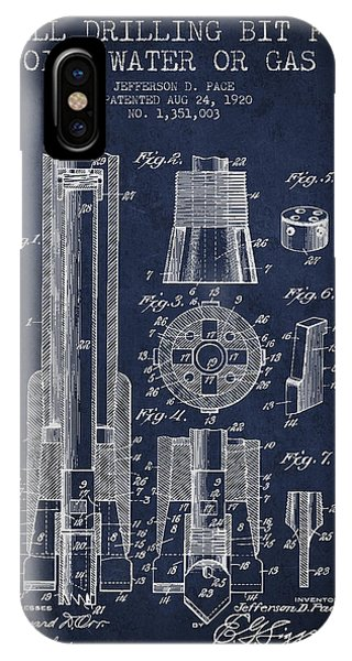 Drilling Bit For Oil Water Gas Patent From 1920 - Navy Blue IPhone Case