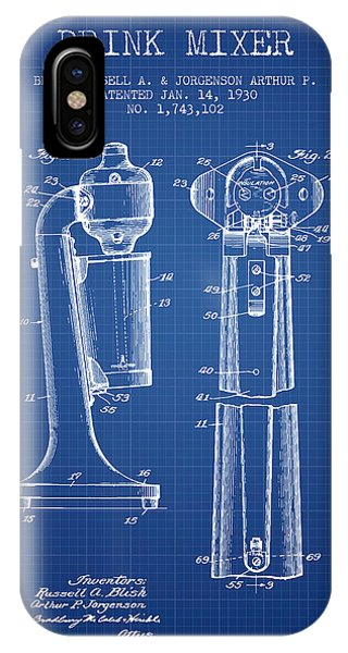 Shaker iPhone Case - Drink Mixer Patent From 1930 - Blueprint by Aged Pixel