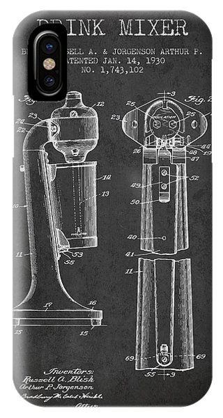 Shaker iPhone Case - Drink Mixer Patent From 1930 - Dark by Aged Pixel