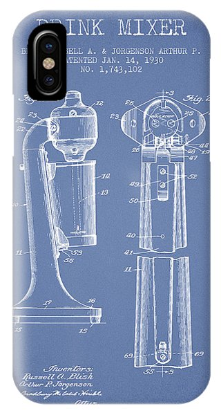 Shaker iPhone Case - Drink Mixer Patent From 1930 - Light Blue by Aged Pixel