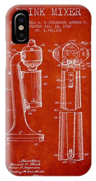 Shaker iPhone Case - Drink Mixer Patent From 1930 - Red by Aged Pixel