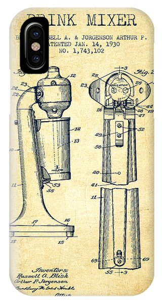 Shaker iPhone Case - Drink Mixer Patent From 1930 - Vintage by Aged Pixel