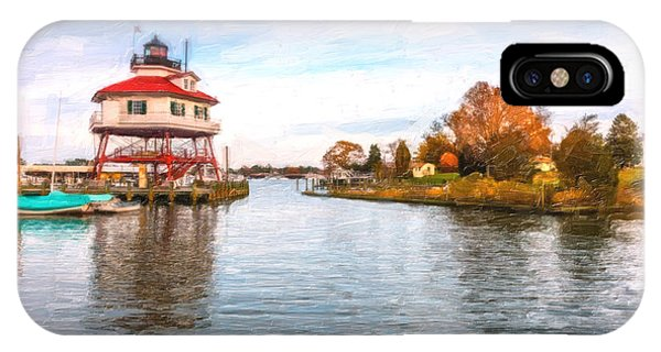 Drum Poiint Lighthouse Oil Painting IPhone Case