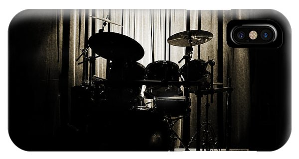 Drum Set On Stage Photograph Combo Jazz Sepia 3234.01 IPhone Case