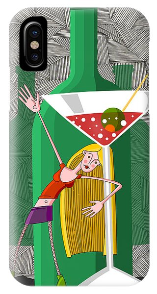Alcoholism iPhone Case - Drunk Young Woman In Party With Martini Glass by Fanatic Studio / Science Photo Library