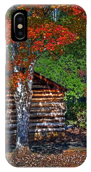 Dry Brush Painting Effect Red Leaves Over A Log Cabin IPhone Case