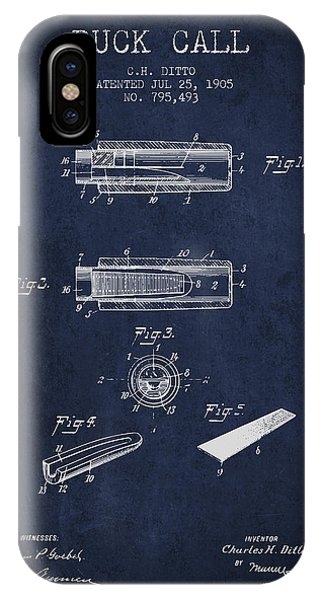 Duck Call Instrument Patent From 1905 - Navy Blue IPhone Case