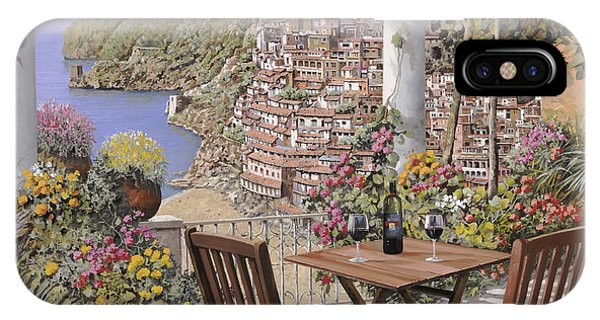 IPhone Case featuring the painting due bicchieri a Positano by Guido Borelli