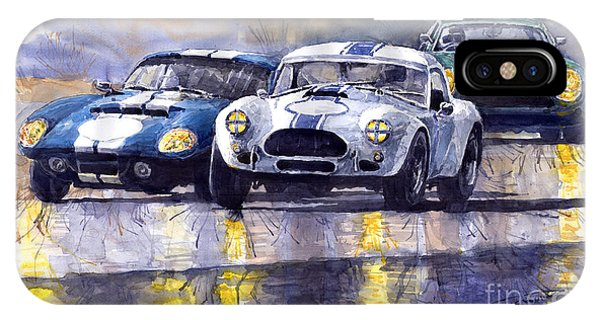 Classic Cars iPhone Case - Duel Ac Cobra And Shelby Daytona Coupe 1965 by Yuriy Shevchuk