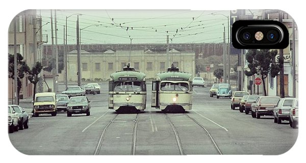 N Judah Dueling Streetcars.  End Of Judah Street.  1970s. IPhone Case
