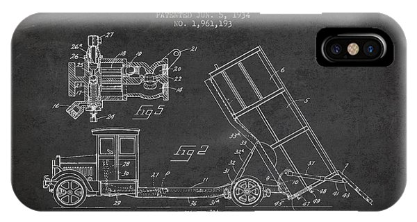 Dump Truck Patent Drawing From 1934 IPhone Case