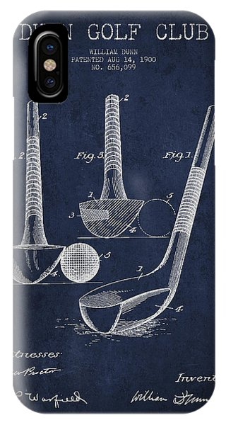 Golf Ball iPhone Case - Dunn Golf Club Patent Drawing From 1900 - Navy Blue by Aged Pixel