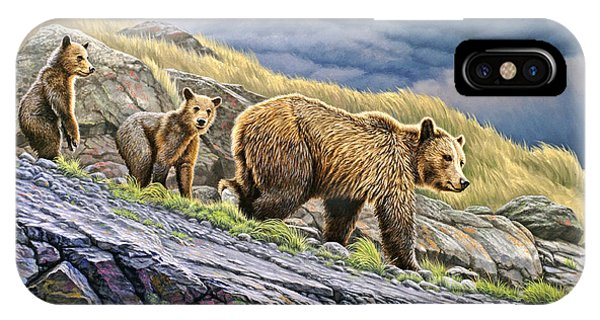 Yellowstone iPhone Case - Dunraven Pass Grizzly Family by Paul Krapf