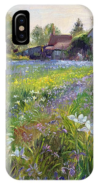 Bucolic iPhone Case - Dwarf Irises And Cottage by Timothy Easton