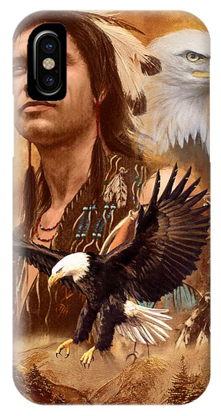 Native American Spirit Portrait iPhone Case - Eagle Montage by Garry Walton