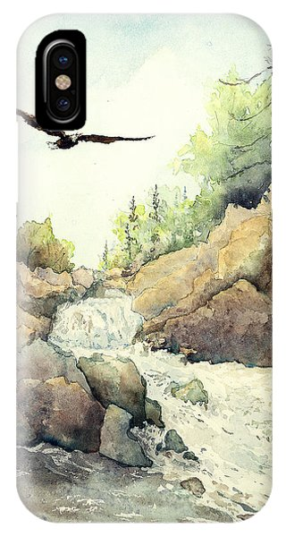 Eagle Over Dave's Falls IPhone Case