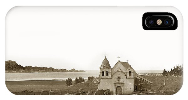 View Point iPhone Case - Early Carmel Mission And Point Lobos California Circa 1884 by California Views Archives Mr Pat Hathaway Archives