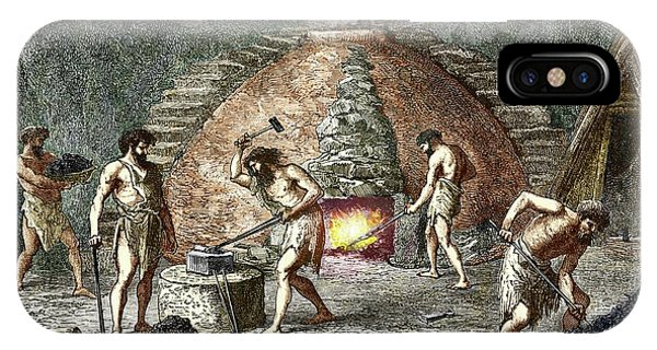 Anvil iPhone Case - Early Humans Smelting Iron by Sheila Terry
