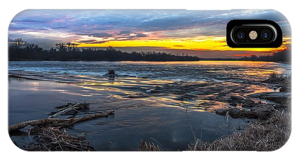 Early March Sunset Over Narew River In Poland IPhone Case