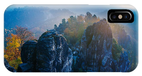 Early Morning Mist At The Bastei In The Saxon Switzerland IPhone Case