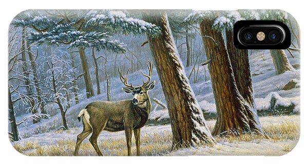 Mule Deer iPhone Case - Early Snow- Mule Deer by Paul Krapf